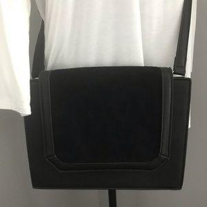 Black suede cross body purse